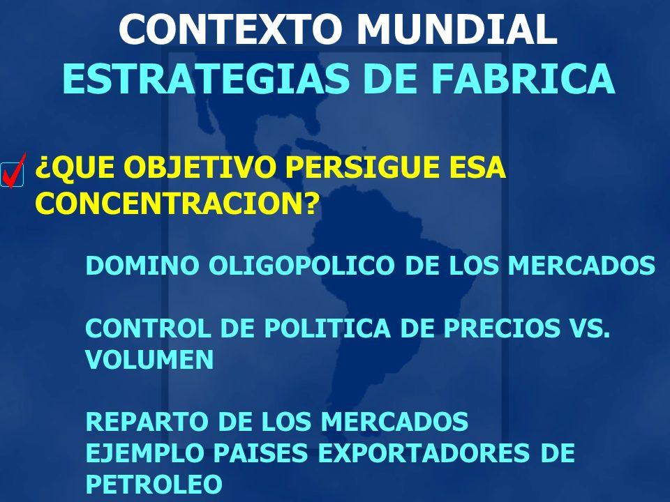 CONTEXTO MUNDIAL ESTRATEGIAS DE FABRICA ¿QUE OBJETIVO PERSIGUE ESA CONCENTRACION? DOMINO OLIGOPOLICO DE LOS MERCADOS CONTROL DE POLITICA DE PRECIOS VS