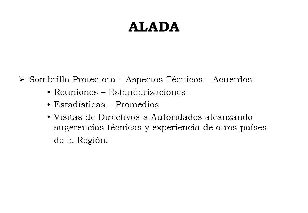 ALADA Sombrilla Protectora – Aspectos Técnicos – Acuerdos Reuniones – Estandarizaciones Estadísticas – Promedios Visitas de Directivos a Autoridades a