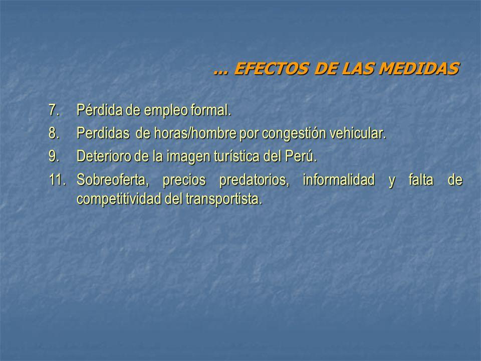 7. Pérdida de empleo formal. 8. Perdidas de horas/hombre por congestión vehicular. 9.Deterioro de la imagen turística del Perú. 11.Sobreoferta, precio