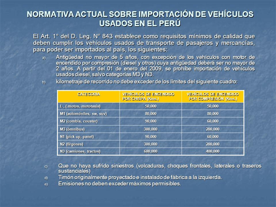 NORMATIVA ACTUAL SOBRE IMPORTACIÓN DE VEHÍCULOS USADOS EN EL PERÚ El Art. 1° del D. Leg. N° 843 establece como requisitos mínimos de calidad que deben