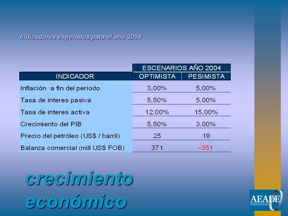 crecimiento económico Indicadores esperados para el año 2004