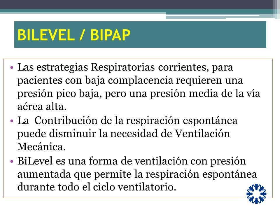 BILEVEL / BIPAP Las estrategias Respiratorias corrientes, para pacientes con baja complacencia requieren una presión pico baja, pero una presión media