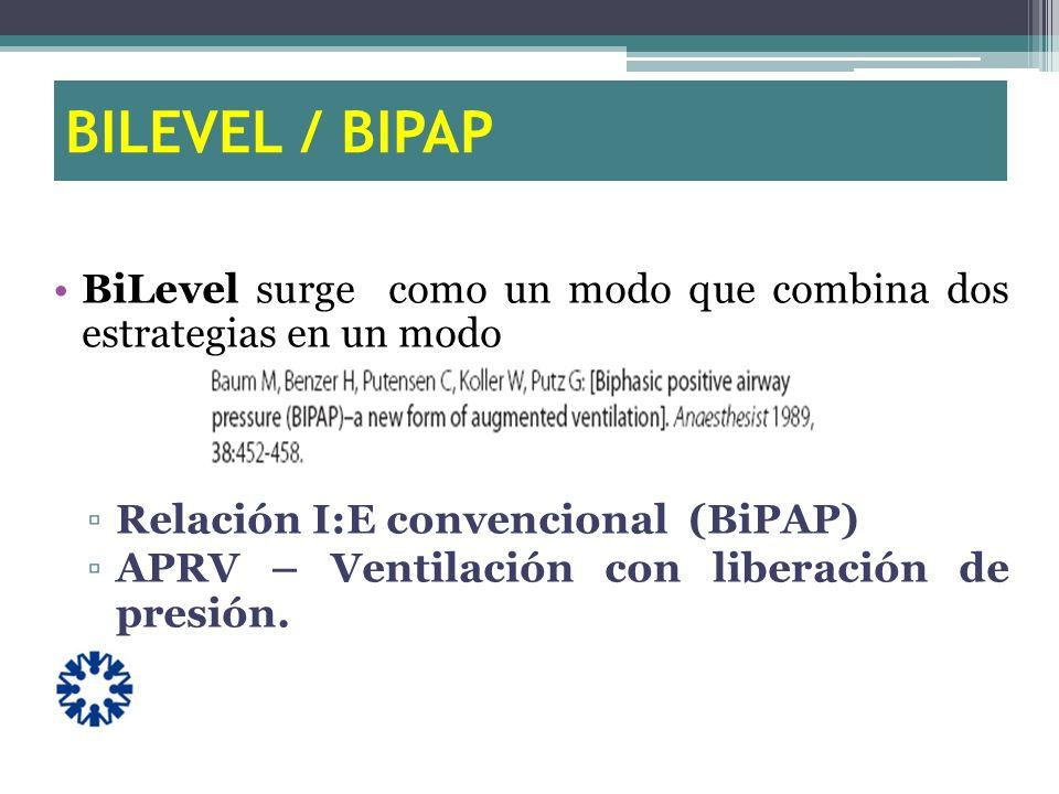 BILEVEL / BIPAP BiLevel surge como un modo que combina dos estrategias en un modo Relación I:E convencional (BiPAP) APRV – Ventilación con liberación