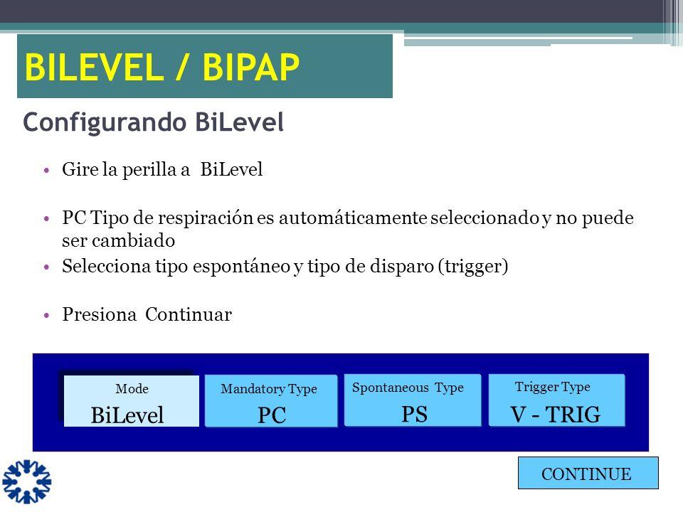 Configurando BiLevel Gire la perilla a BiLevel PC Tipo de respiración es automáticamente seleccionado y no puede ser cambiado Selecciona tipo espontán