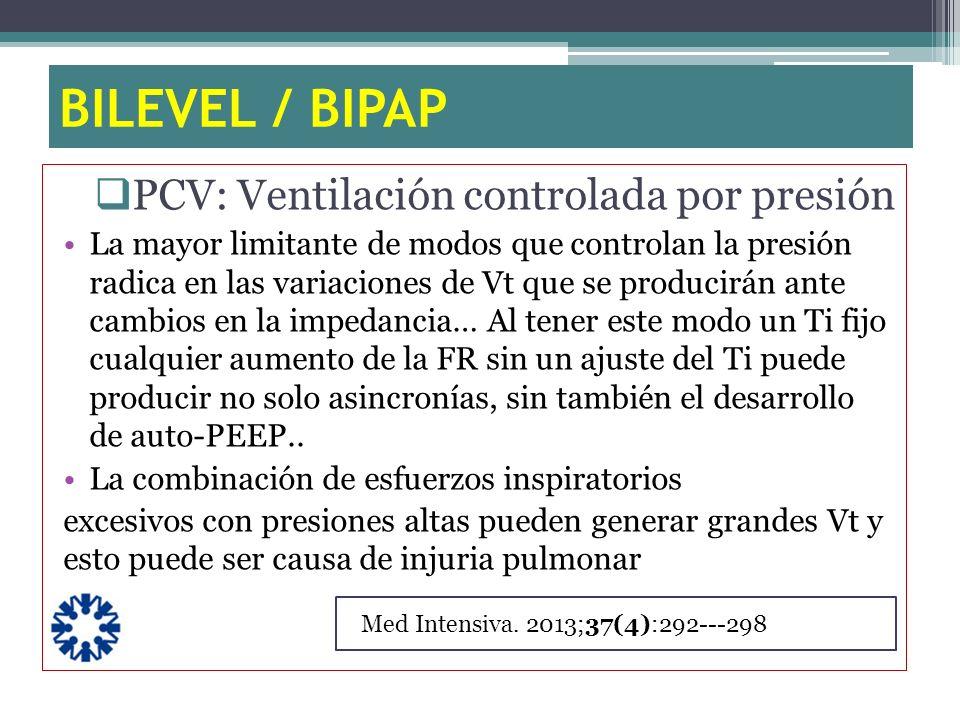 BILEVEL / BIPAP PCV: Ventilación controlada por presión La mayor limitante de modos que controlan la presión radica en las variaciones de Vt que se pr