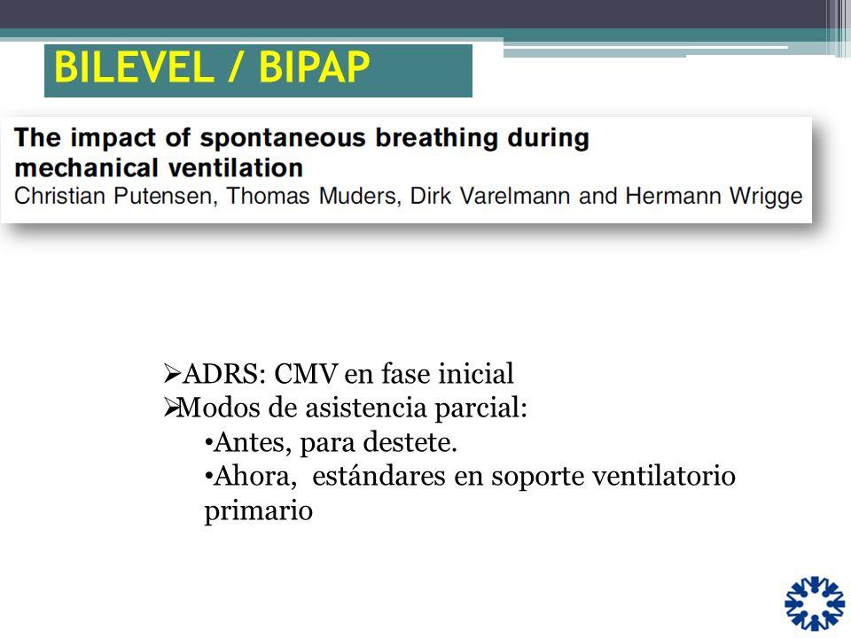 ADRS: CMV en fase inicial Modos de asistencia parcial: Antes, para destete. Ahora, estándares en soporte ventilatorio primario BILEVEL / BIPAP