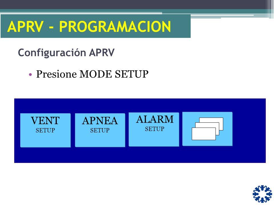 Configuración APRV Presione MODE SETUP VENT SETUP APNEA SETUP ALARM SETUP APRV - PROGRAMACION