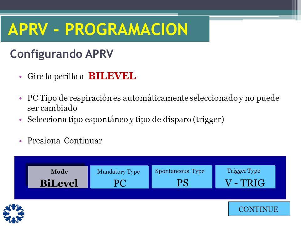 Configurando APRV Gire la perilla a BILEVEL PC Tipo de respiración es automáticamente seleccionado y no puede ser cambiado Selecciona tipo espontáneo