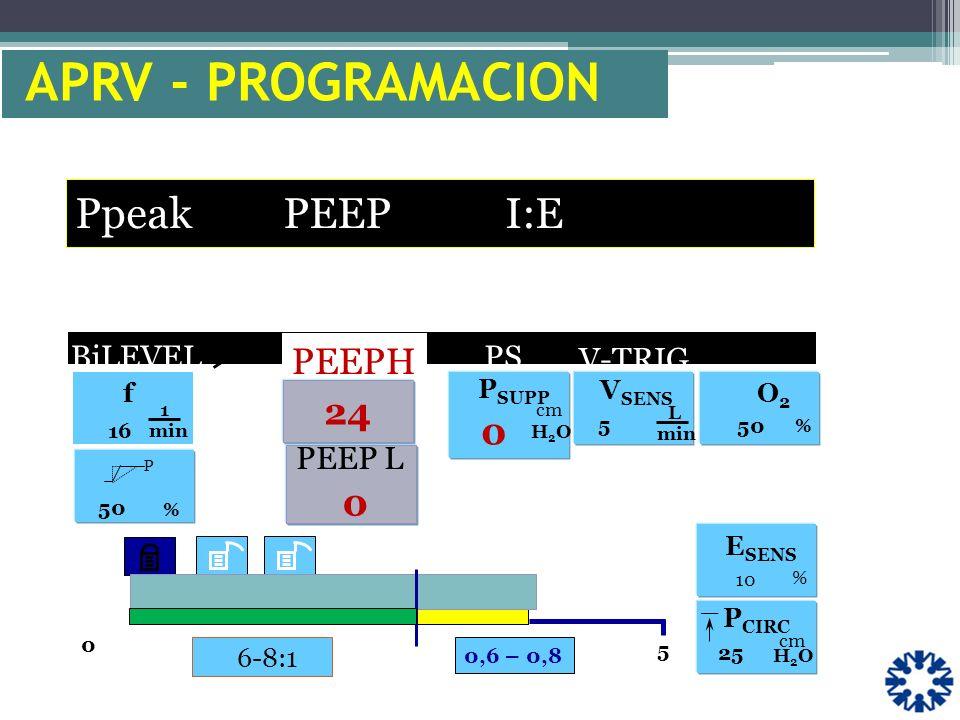 6-8:1 f 1 min 16 0 5 V-TRIG. P % 50 O2O2 % _ P CIRC cm H2OH2O 25 PS P SUPP H2OH2O V SENS L min 5 BiLEVEL PEEPH 10 % E SENS 0,6 – 0,8 cm APRV - PROGRAM