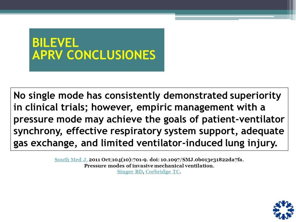 BILEVEL APRV CONCLUSIONES South Med J.South Med J. 2011 Oct;104(10):701-9. doi: 10.1097/SMJ.0b013e31822da7fa. Pressure modes of invasive mechanical ve