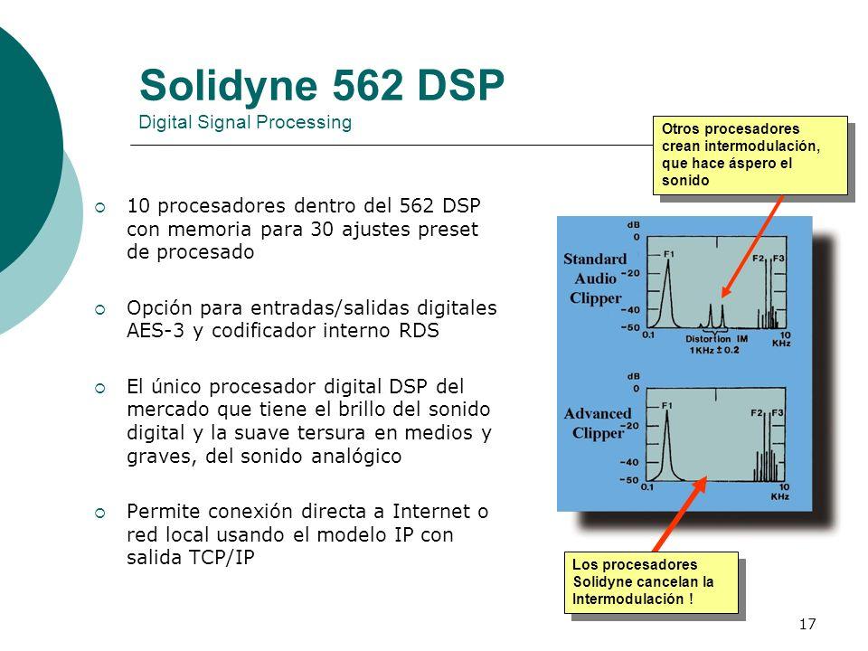 17 Solidyne 562 DSP Digital Signal Processing 10 procesadores dentro del 562 DSP con memoria para 30 ajustes preset de procesado Opción para entradas/