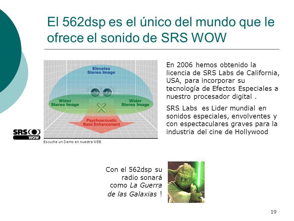 19 El 562dsp es el único del mundo que le ofrece el sonido de SRS WOW En 2006 hemos obtenido la licencia de SRS Labs de California, USA, para incorpor