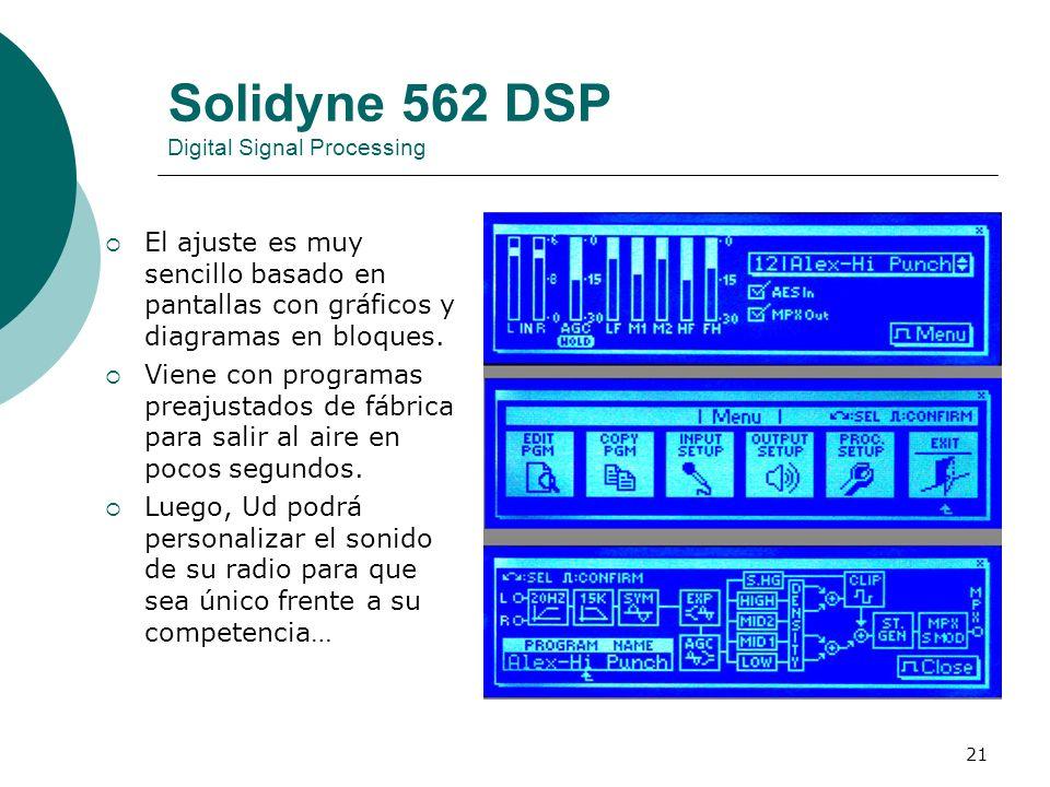 21 Solidyne 562 DSP Digital Signal Processing El ajuste es muy sencillo basado en pantallas con gráficos y diagramas en bloques. Viene con programas p