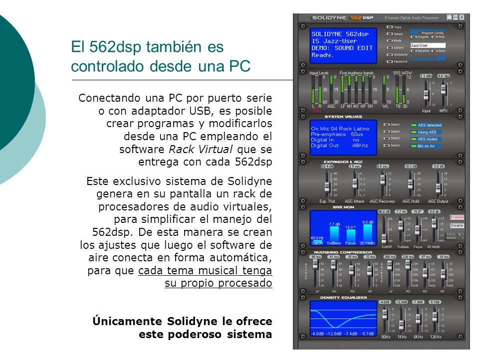 22 El 562dsp también es controlado desde una PC Conectando una PC por puerto serie o con adaptador USB, es posible crear programas y modificarlos desd