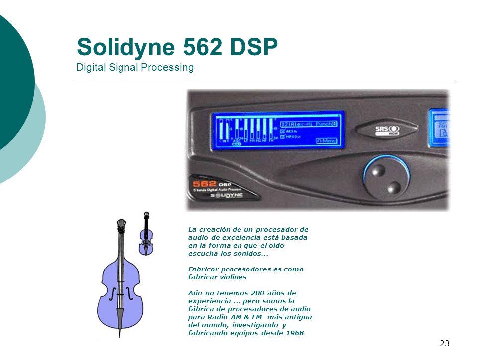 23 Solidyne 562 DSP Digital Signal Processing La creación de un procesador de audio de excelencia está basada en la forma en que el oído escucha los s