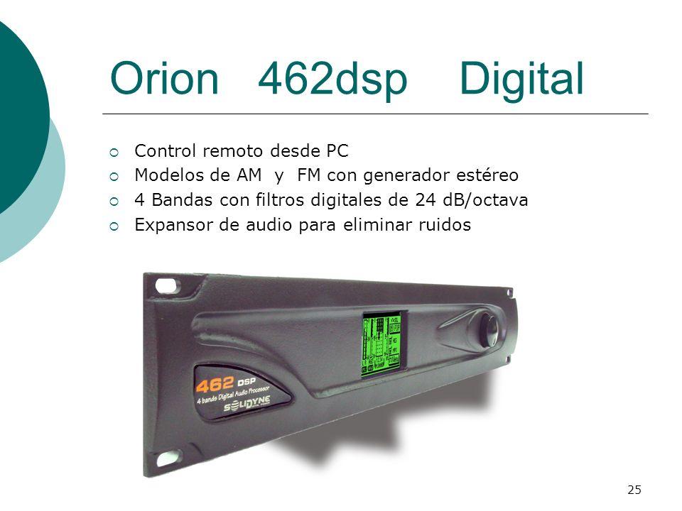 25 Orion 462dsp Digital Control remoto desde PC Modelos de AM y FM con generador estéreo 4 Bandas con filtros digitales de 24 dB/octava Expansor de au