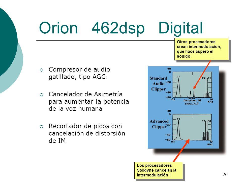 26 Orion 462dsp Digital Compresor de audio gatillado, tipo AGC Cancelador de Asimetría para aumentar la potencia de la voz humana Recortador de picos