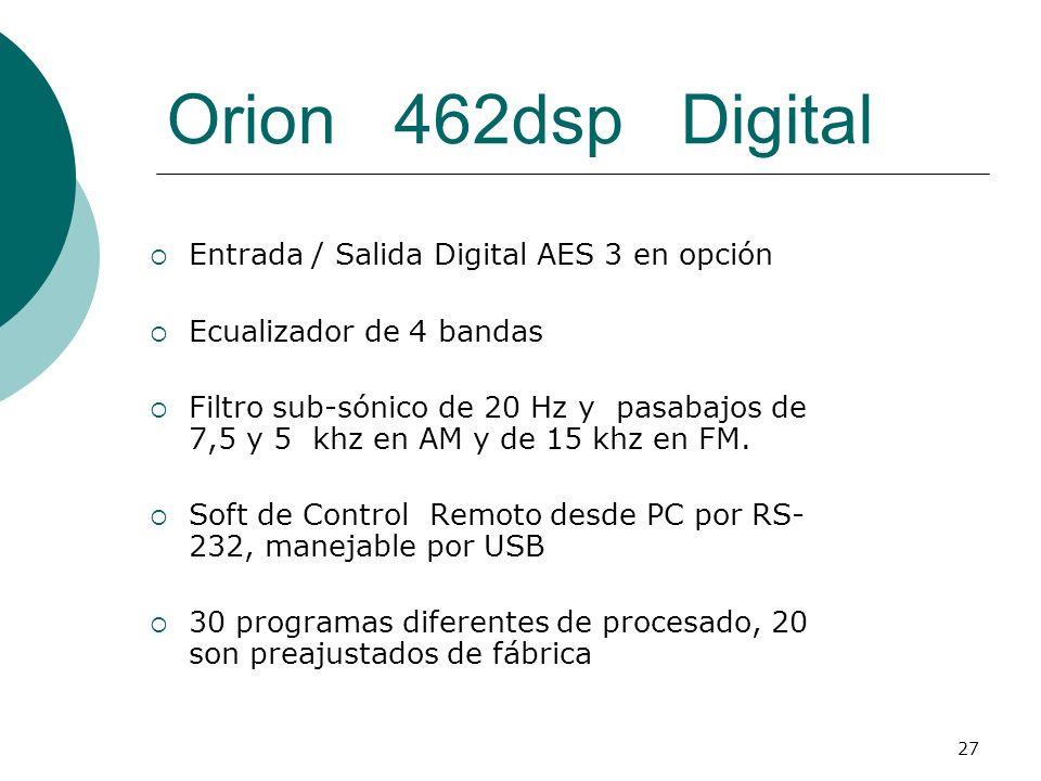 27 Orion 462dsp Digital Entrada / Salida Digital AES 3 en opción Ecualizador de 4 bandas Filtro sub-sónico de 20 Hz y pasabajos de 7,5 y 5 khz en AM y