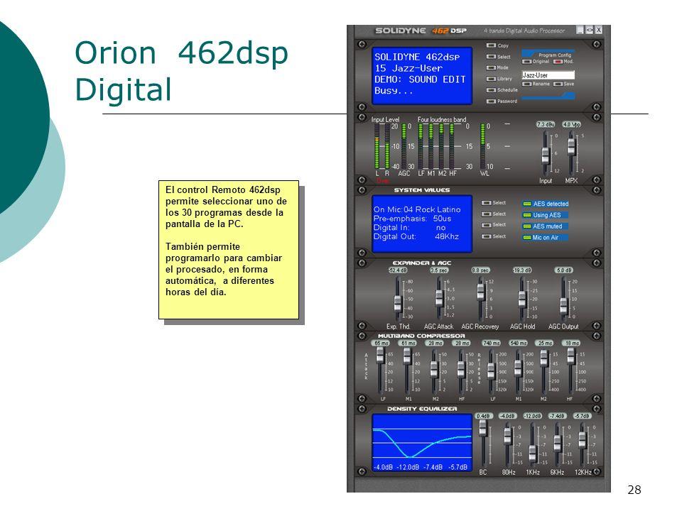 28 El control Remoto 462dsp permite seleccionar uno de los 30 programas desde la pantalla de la PC. También permite programarlo para cambiar el proces
