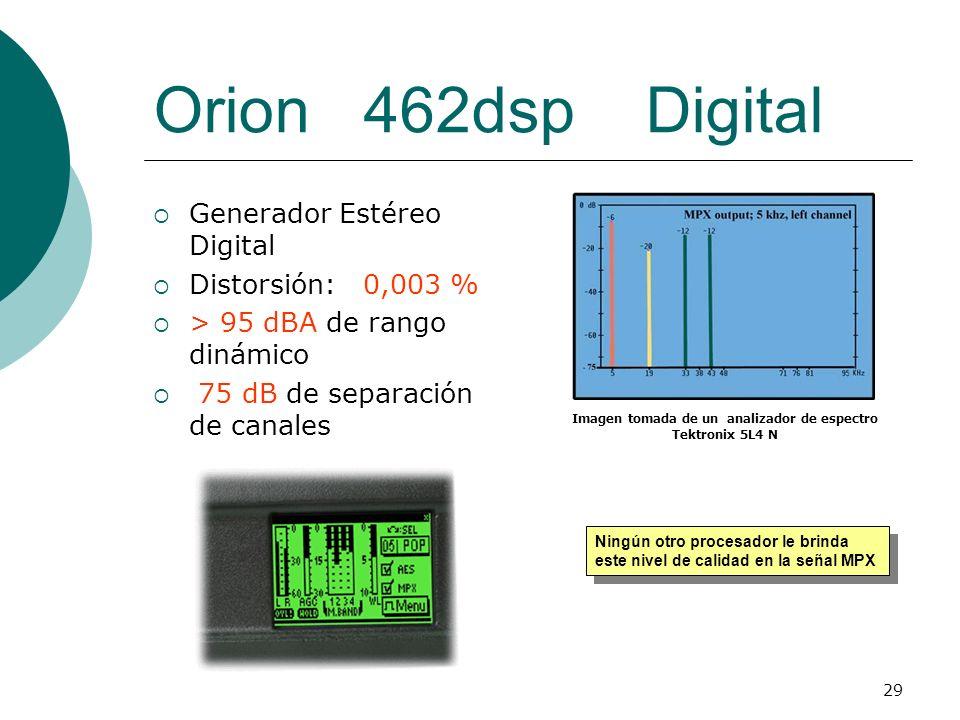 29 Orion 462dsp Digital Generador Estéreo Digital Distorsión: 0,003 % > 95 dBA de rango dinámico 75 dB de separación de canales Ningún otro procesador