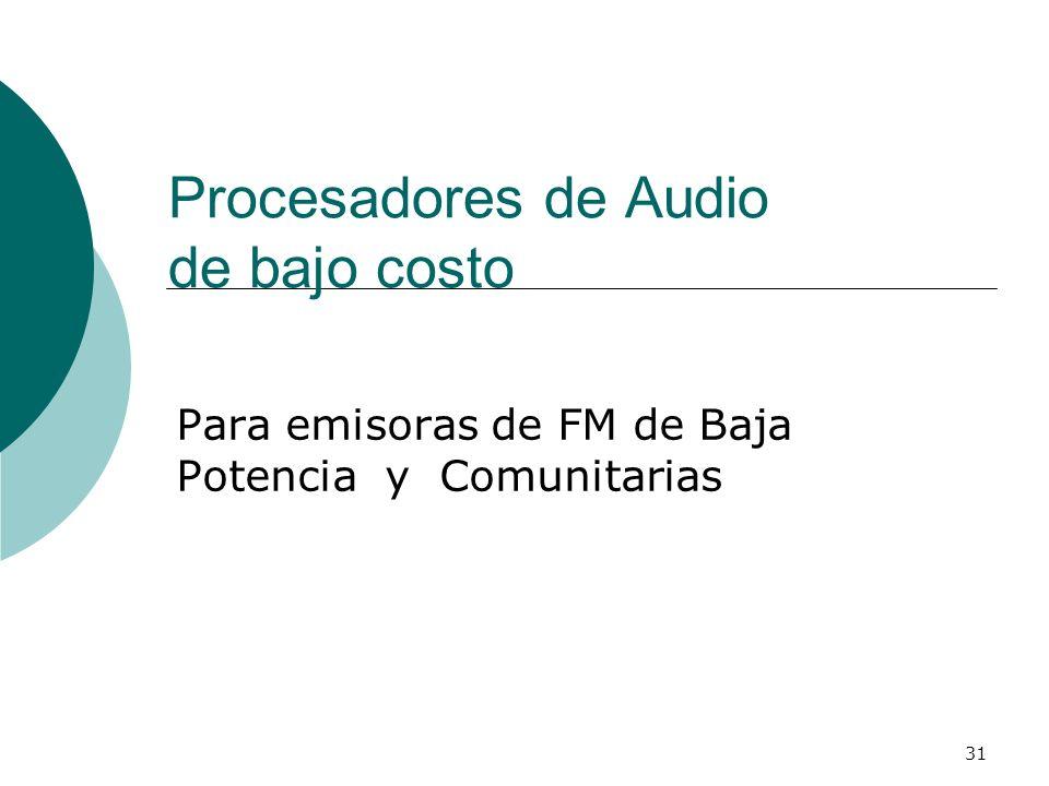31 Procesadores de Audio de bajo costo Para emisoras de FM de Baja Potencia y Comunitarias