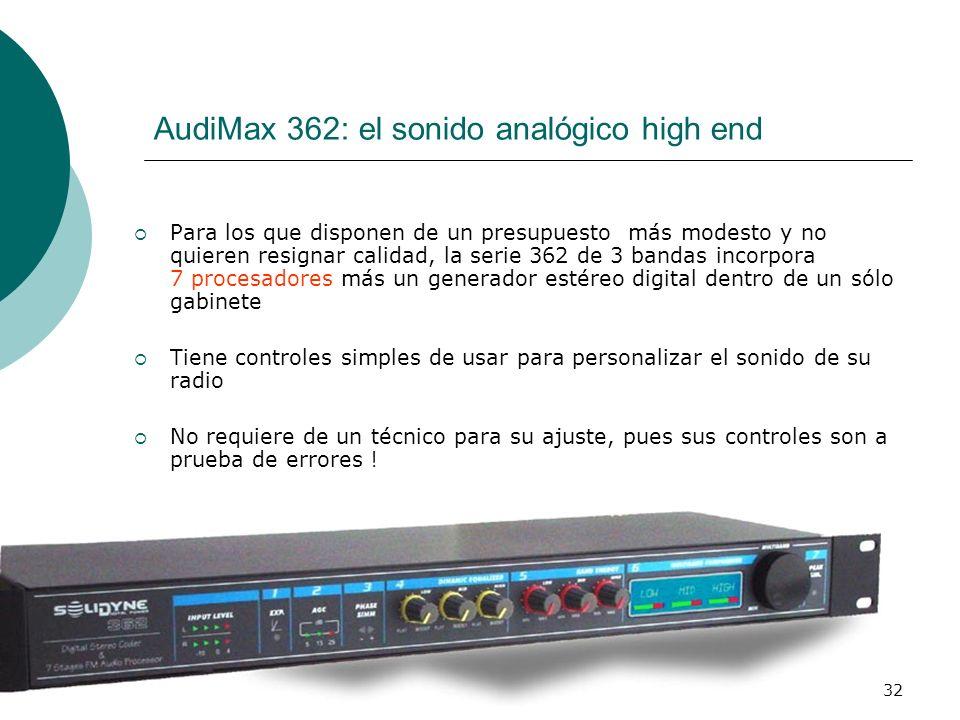 32 AudiMax 362: el sonido analógico high end Para los que disponen de un presupuesto más modesto y no quieren resignar calidad, la serie 362 de 3 band