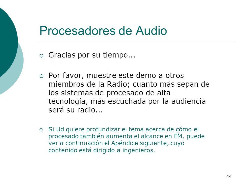 44 Procesadores de Audio Gracias por su tiempo... Por favor, muestre este demo a otros miembros de la Radio; cuanto más sepan de los sistemas de proce