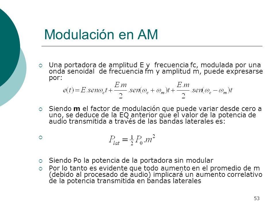 53 Modulación en AM Una portadora de amplitud E y frecuencia fc, modulada por una onda senoidal de frecuencia fm y amplitud m, puede expresarse por: S