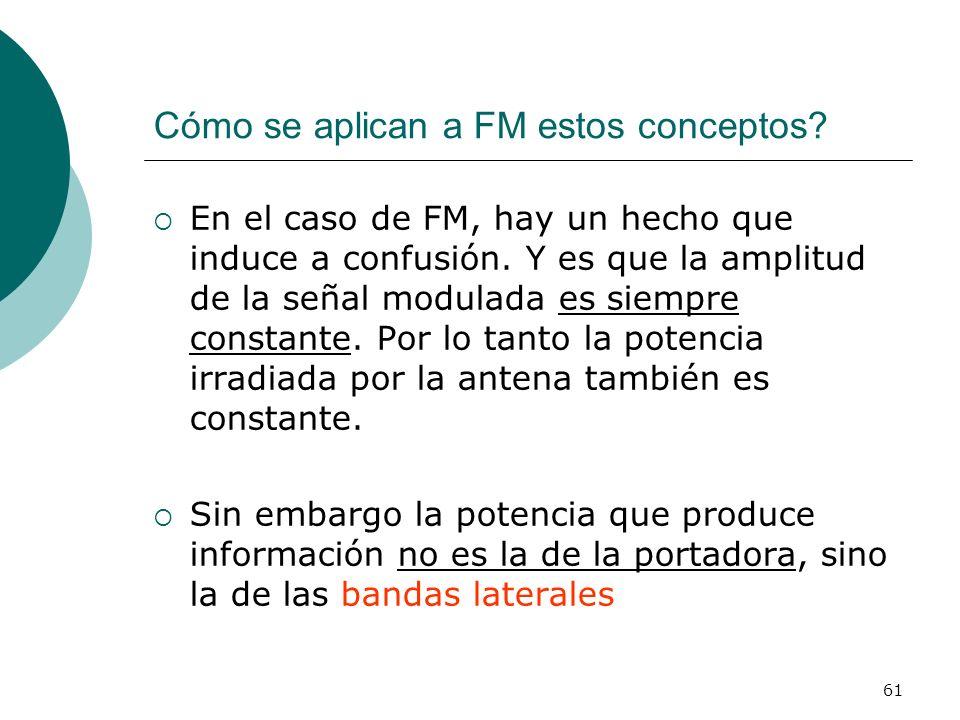 61 Cómo se aplican a FM estos conceptos? En el caso de FM, hay un hecho que induce a confusión. Y es que la amplitud de la señal modulada es siempre c