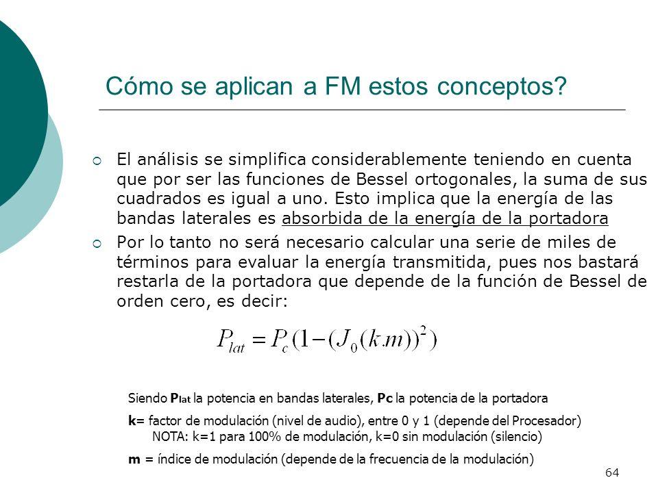 64 Cómo se aplican a FM estos conceptos? El análisis se simplifica considerablemente teniendo en cuenta que por ser las funciones de Bessel ortogonale