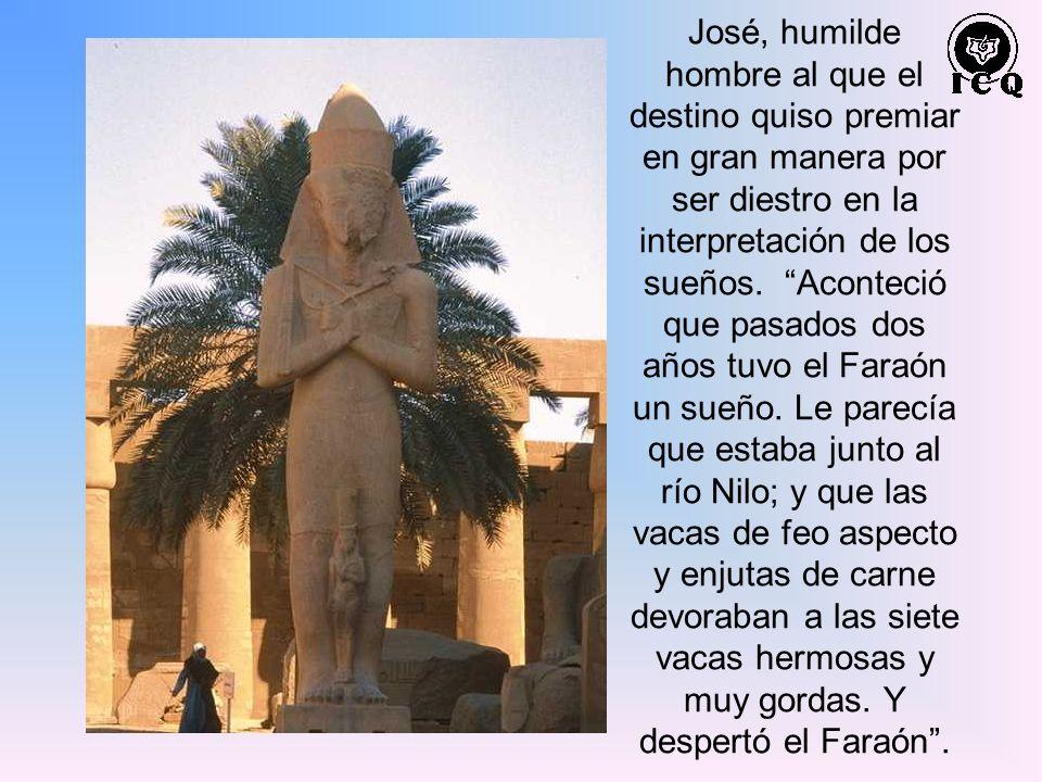 José, humilde hombre al que el destino quiso premiar en gran manera por ser diestro en la interpretación de los sueños. Aconteció que pasados dos años