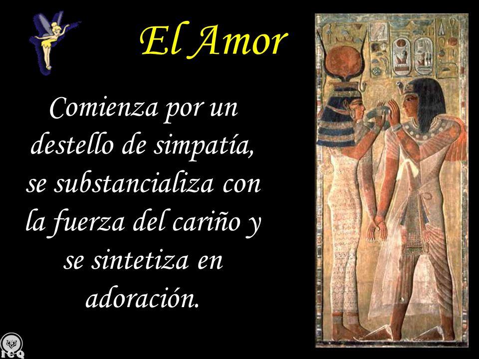 El Amor Comienza por un destello de simpatía, se substancializa con la fuerza del cariño y se sintetiza en adoración.