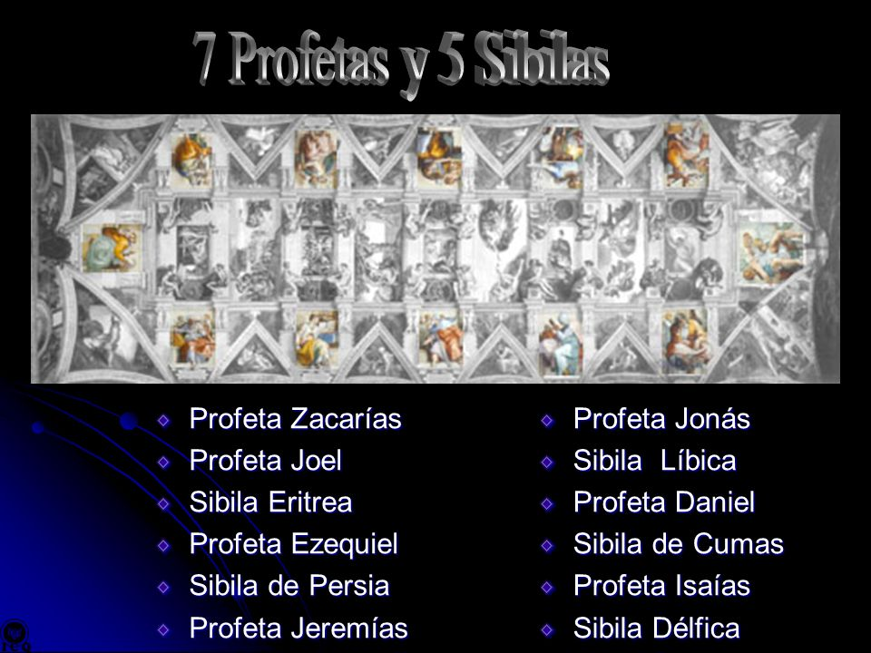 Profeta Zacarías Profeta Joel Sibila Eritrea Profeta Ezequiel Sibila de Persia Profeta Jeremías Profeta Jonás Sibila Líbica Profeta Daniel Sibila de C