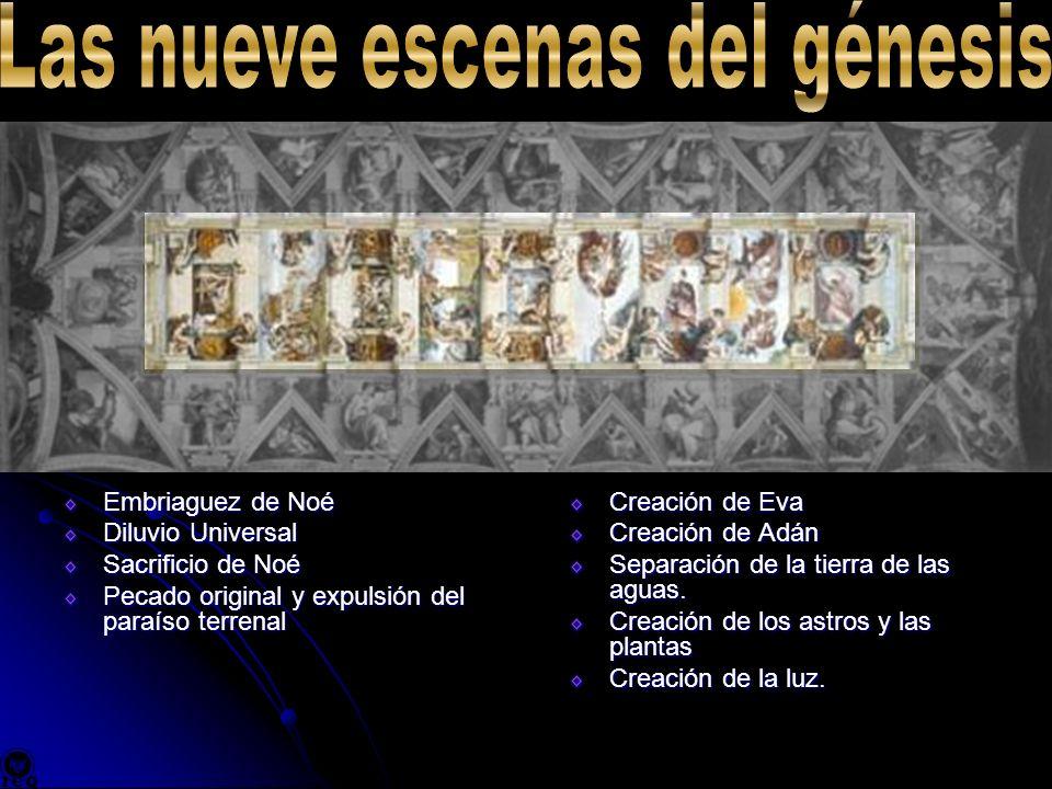 Embriaguez de Noé Diluvio Universal Sacrificio de Noé Pecado original y expulsión del paraíso terrenal Creación de Eva Creación de Adán Separación de