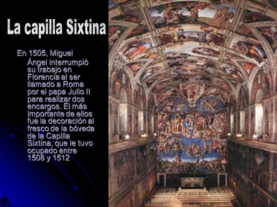 En 1505, Miguel Ángel interrumpió su trabajo en Florencia al ser llamado a Roma por el papa Julio II para realizar dos encargos. El más importante de
