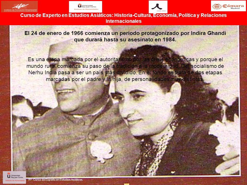 El 24 de enero de 1966 comienza un periodo protagonizado por Indira Ghandi que durará hasta su asesinato en 1984. Es una etapa marcada por el autorita