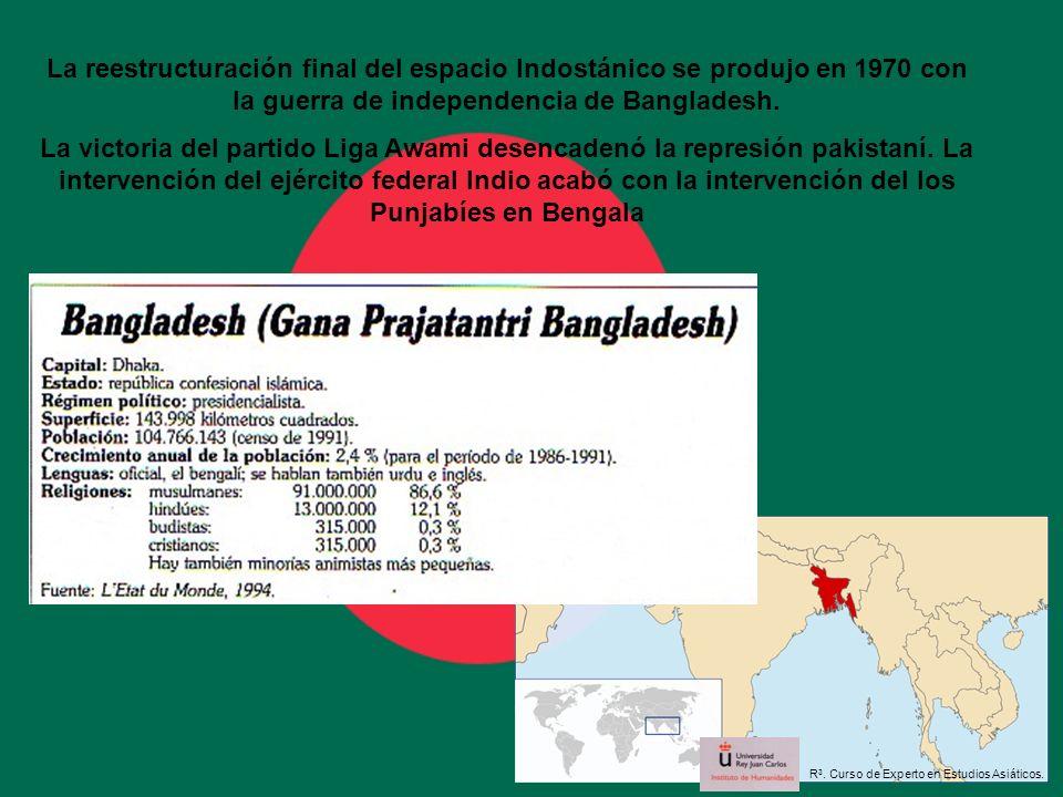 La reestructuración final del espacio Indostánico se produjo en 1970 con la guerra de independencia de Bangladesh. La victoria del partido Liga Awami
