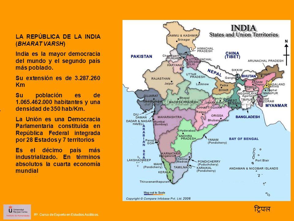 LA REPÚBLICA DE LA INDIA (BHARAT VARSH) India es la mayor democracia del mundo y el segundo país más poblado. Su extensión es de 3.287.260 Km Su pobla