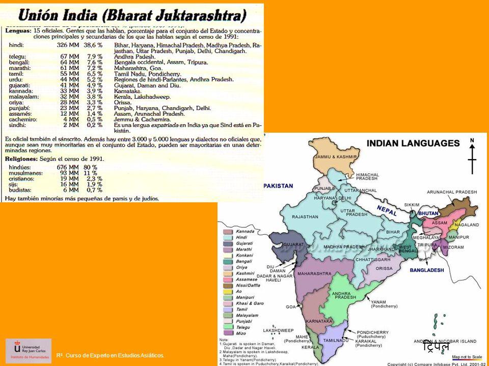 Las lenguas del Indostán se dividen en dos grandes familias: Indoeuropea y Dravidiana R 3.