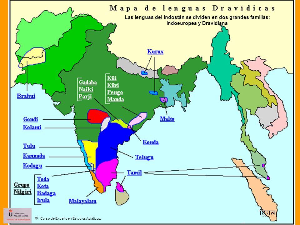 Las lenguas del Indostán se dividen en dos grandes familias: Indoeuropea y Dravidiana R 3. Curso de Experto en Estudios Asiáticos.