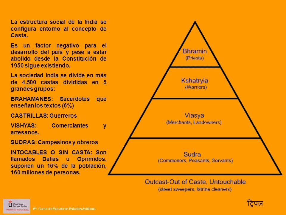 La estructura social de la India se configura entorno al concepto de Casta. Es un factor negativo para el desarrollo del país y pese a estar abolido d