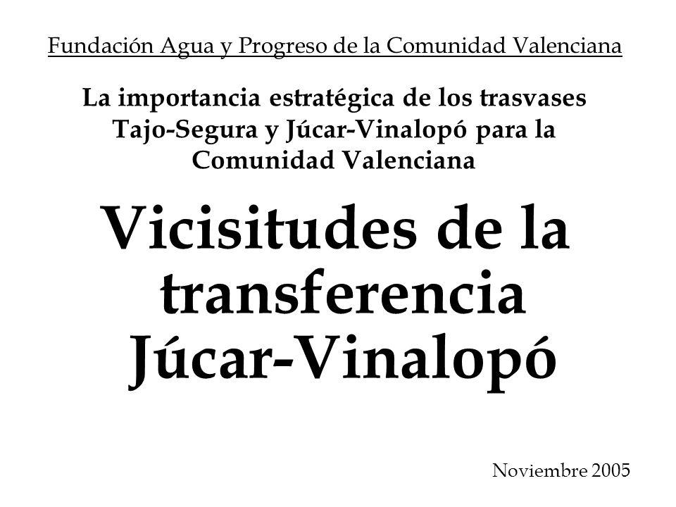 La importancia estratégica de los trasvases Tajo-Segura y Júcar-Vinalopó para la Comunidad Valenciana Vicisitudes de la transferencia Júcar-Vinalopó F