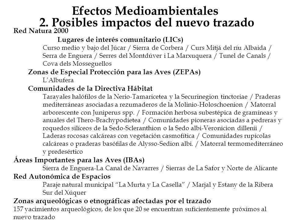 Efectos Medioambientales 2. Posibles impactos del nuevo trazado Red Natura 2000 Lugares de interés comunitario (LICs) Curso medio y bajo del Júcar / S