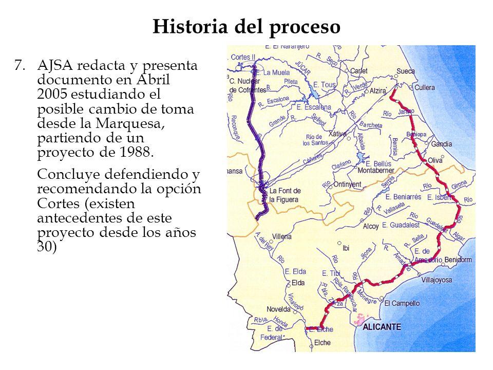 Historia del proceso 7.AJSA redacta y presenta documento en Abril 2005 estudiando el posible cambio de toma desde la Marquesa, partiendo de un proyect