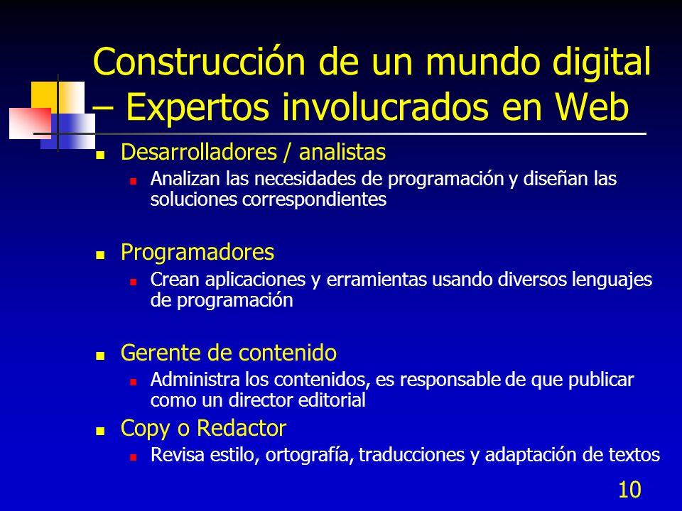 10 Construcción de un mundo digital – Expertos involucrados en Web Desarrolladores / analistas Analizan las necesidades de programación y diseñan las