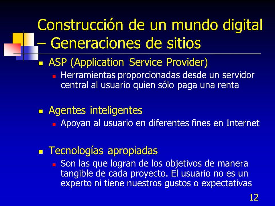 12 Construcción de un mundo digital – Generaciones de sitios ASP (Application Service Provider) Herramientas proporcionadas desde un servidor central
