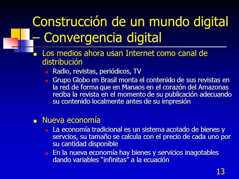 13 Construcción de un mundo digital – Convergencia digital Los medios ahora usan Internet como canal de distribución Radio, revistas, periódicos, TV G