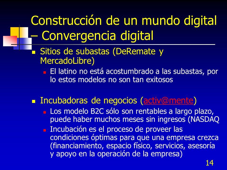 14 Construcción de un mundo digital – Convergencia digital Sitios de subastas (DeRemate y MercadoLibre) El latino no está acostumbrado a las subastas,
