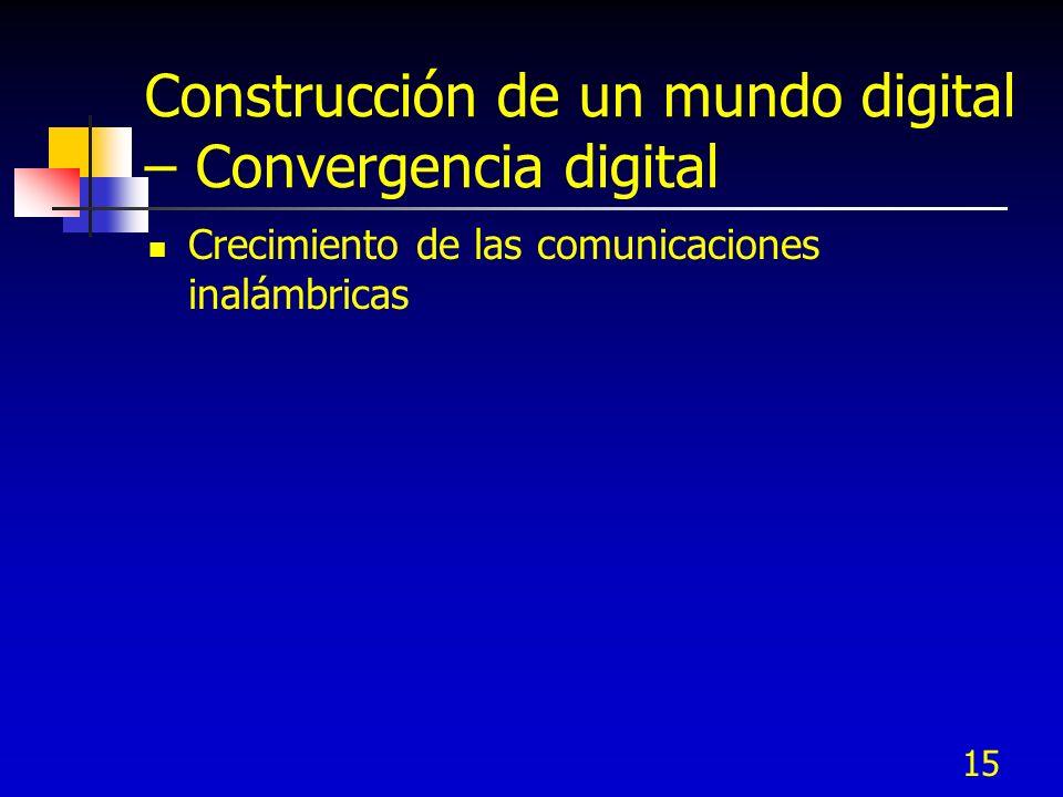 15 Construcción de un mundo digital – Convergencia digital Crecimiento de las comunicaciones inalámbricas