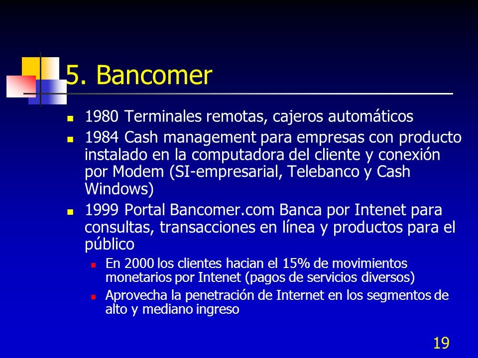 19 5. Bancomer 1980 Terminales remotas, cajeros automáticos 1984 Cash management para empresas con producto instalado en la computadora del cliente y